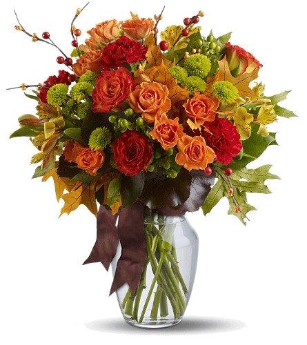Tube bouquet de fleurs automnal