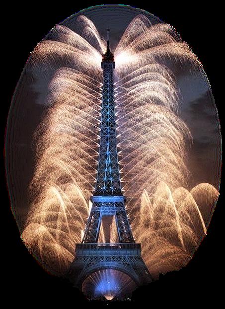 Tube tour Eiffel  feux d'artifice