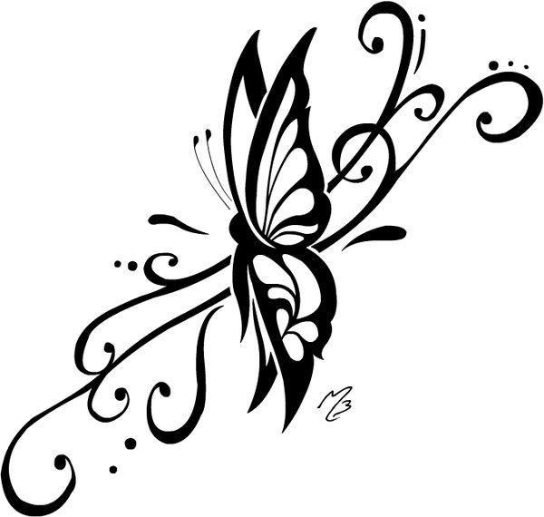 Papillon tribal, dessin pour tatouage.