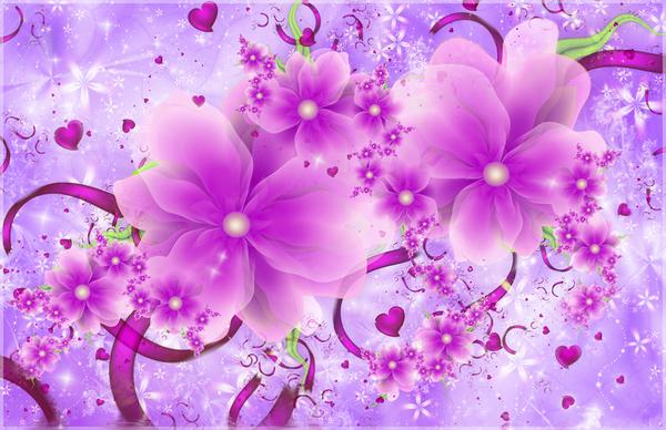 Fractal de fleurs et de coeurs violet