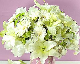 Tube bouquet fleur blanche