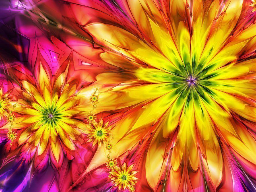 Fractal de fleurs jaune et rose