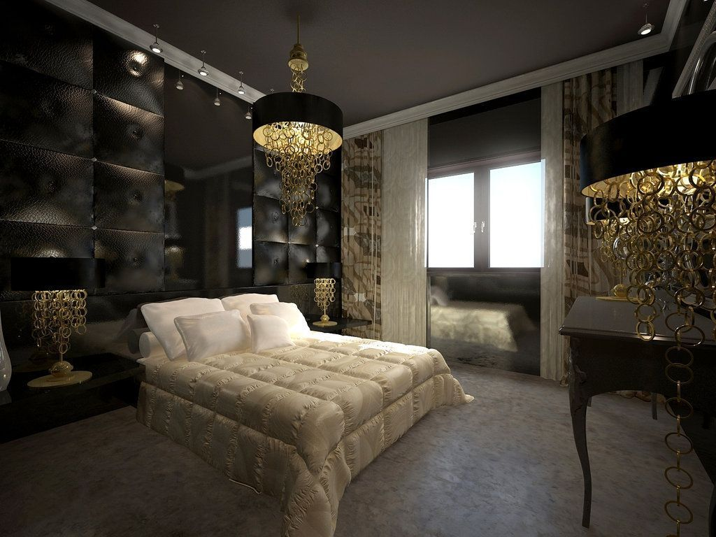 d coration chambre moderne noir et dor. Black Bedroom Furniture Sets. Home Design Ideas