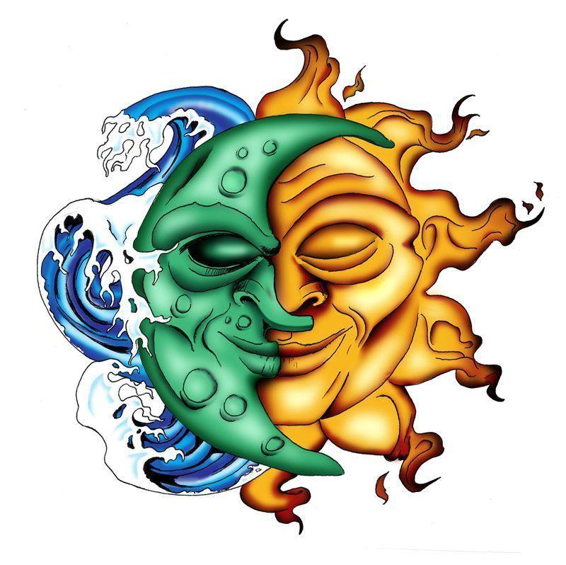 Dessin divers - Lune et soleil tatouage ...