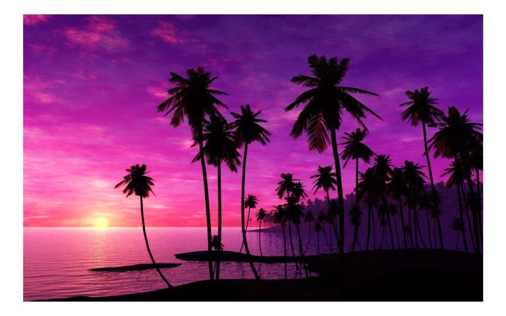 Coucher de soleil sur une le - Coucher de soleil rose ...