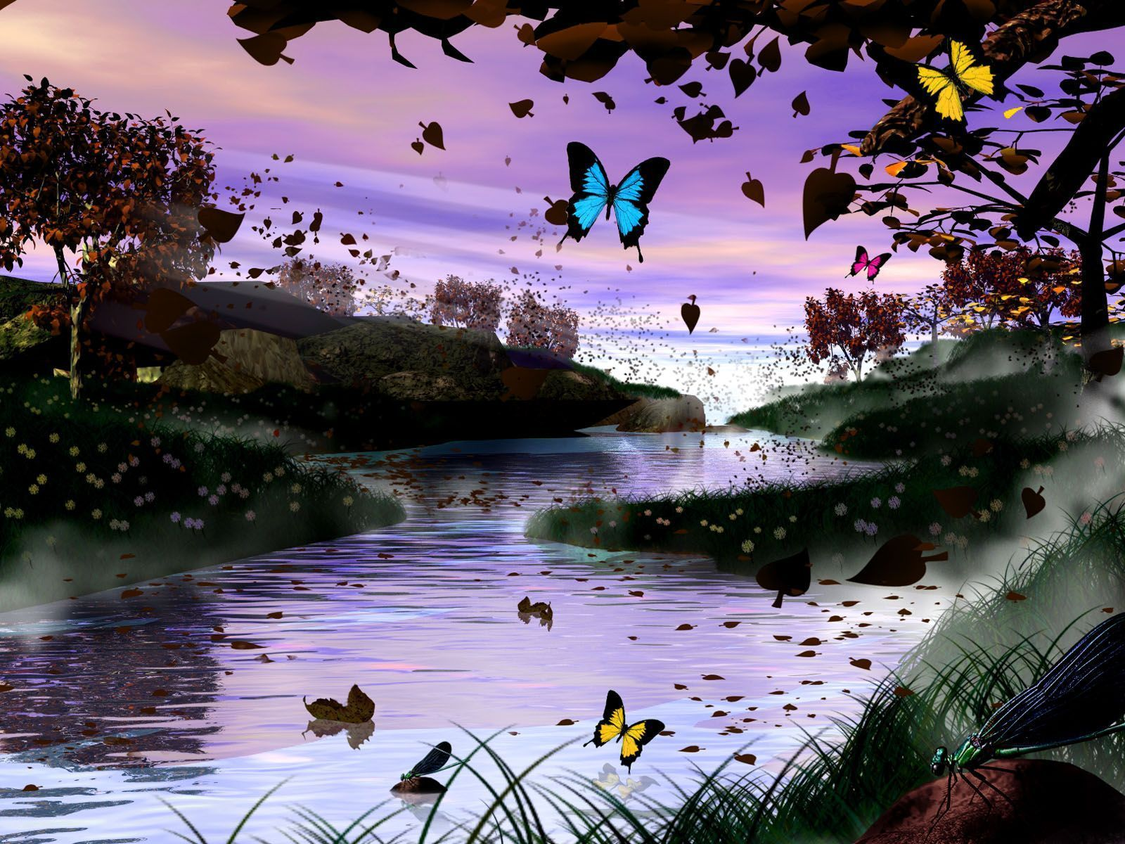 Paysage magique de riviere